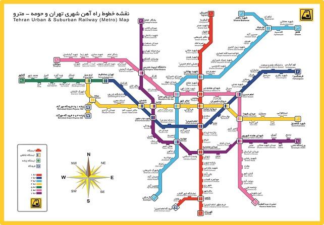 نقشه جديد و کامل خطوط متروی تهران